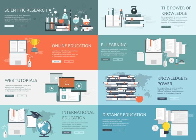 Online utbildning, kunskap och internationell utbildning webb banners