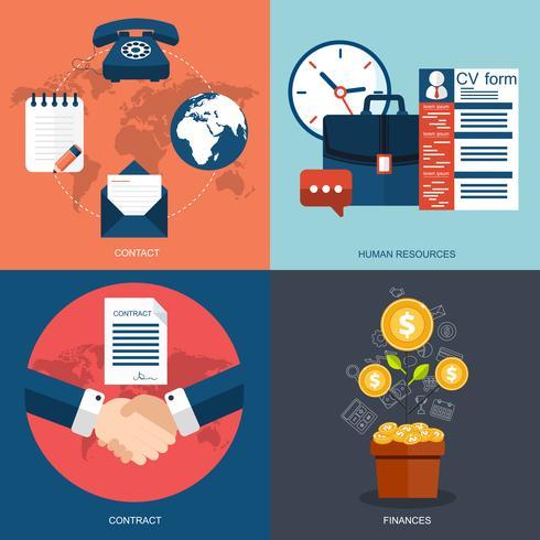 Insieme vettoriale di concetti di business, marketing e finanza piatta e colorata. Elementi di design per applicazioni web e mobili