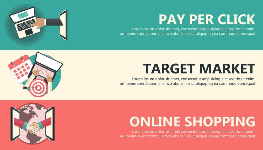 Pay per click, marché cible, bannières de shopping en ligne