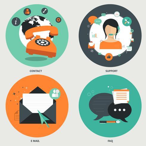 Ícones para perguntas freqüentes, e-mail, contato e suporte.