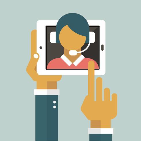 Geschäftskundenbetreuungskonzept. Icons set von Kontakt, Support, Hilfe, Anruf und Website klicken. Flacher Vektor