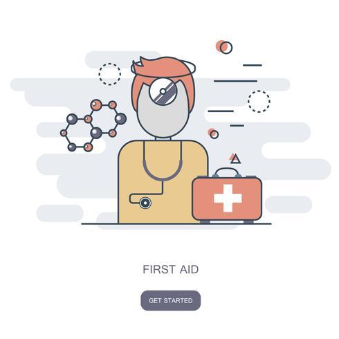 Eerste hulp en online artsenconcept
