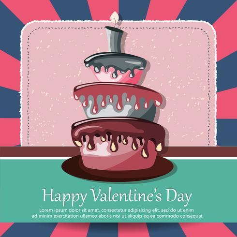 Carte de Saint Valentin et carte d'anniversaire avec un gâteau. Illustration vectorielle plane