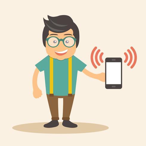 Homme tenant son téléphone intelligent dans la main