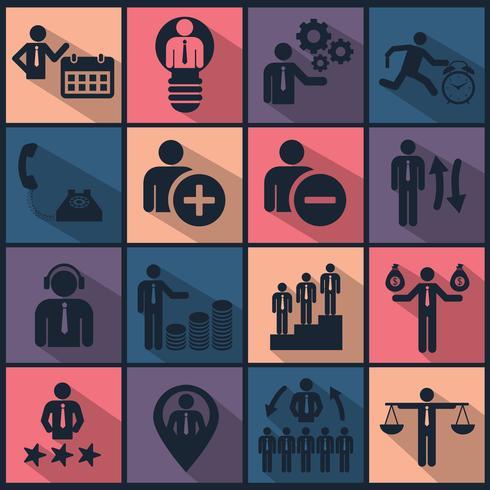 Menselijke hulpbronnen en management icon set. Platte vectorillustratie