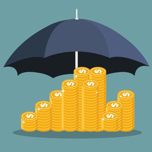 Conceptos de ahorro y protección del dinero.
