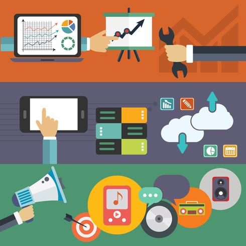Satz flache Vektorillustrationskonzepte für Websiteplan, Handydienste und -anwendungen und Computertablettendienste und -anwendungen