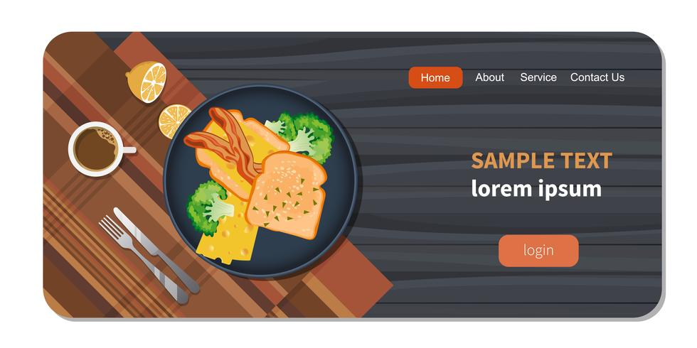 Mat på bordet. Bröd och bacon på en tallrik med friska grönsaker