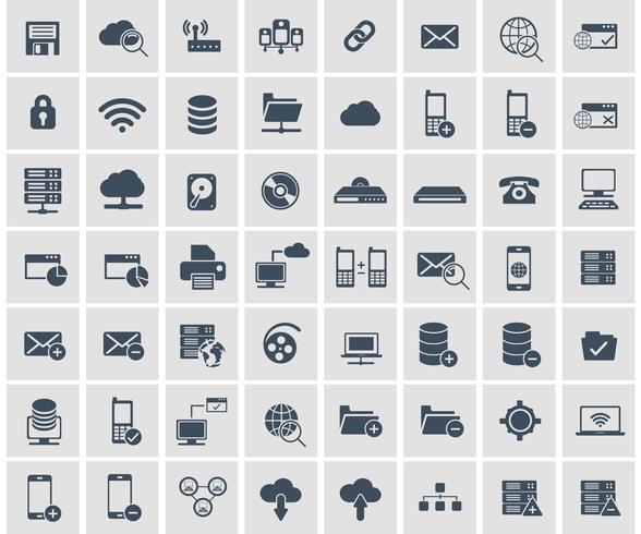 Set di icone di social network, dati analitici, mobile e web application