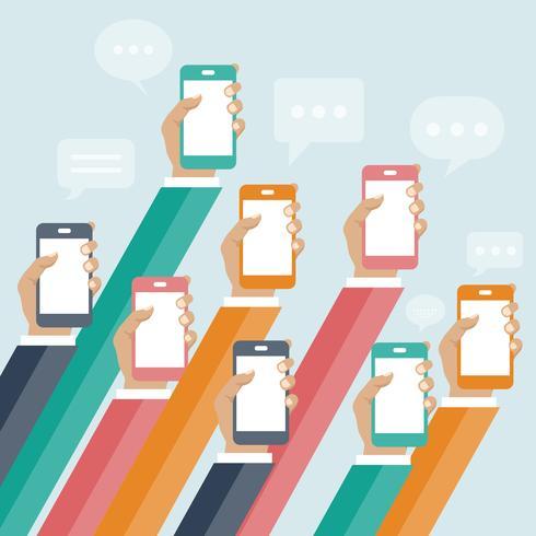 Conceito de aplicativos móveis. Mãos, com, telefones