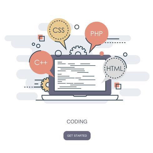 Concetto di programmazione e codifica. Icona di sviluppo applicazioni per siti Web