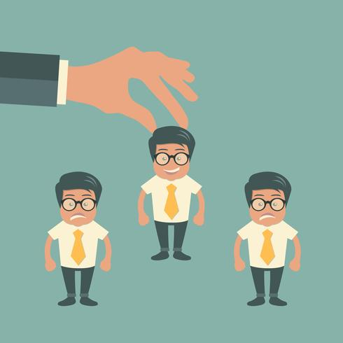 Choosing the best candidate for the job concept. Hand picking up a businessman from the row. Green background. Flat vector design