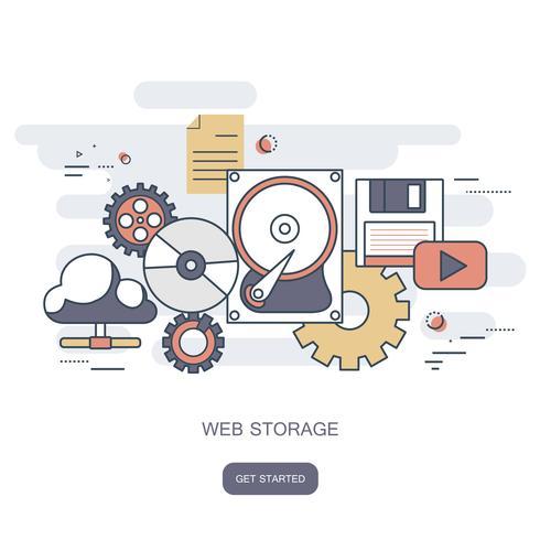 Conceito de armazenamento na Web. Conceito de computação em nuvem. Mesa de trabalho com tecnologia de informática, telefones celulares e tablets. Ilustração vetorial plana