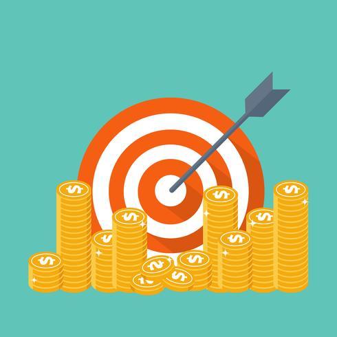 Strategia d'affari. Monete bersaglio, freccia e denaro
