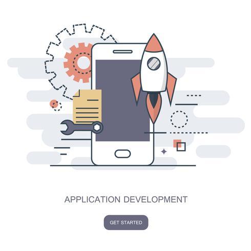 Aplicación móvil y concepto de desarrollo de aplicaciones móviles.