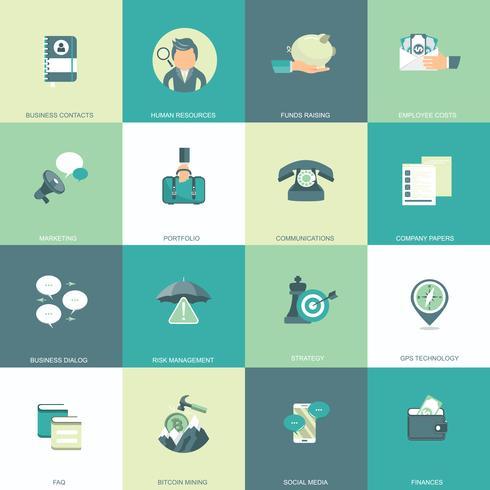 Conjunto de iconos de negocios, administración y finanzas para sitios web y aplicaciones móviles