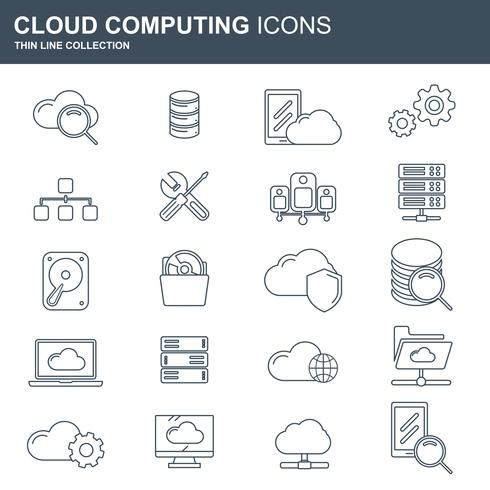 Cloud computing and technology icon set