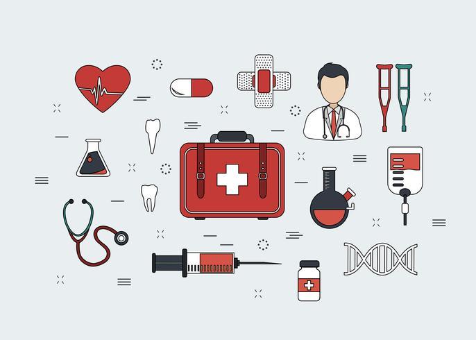 Set di icone di medicina di linea sottile