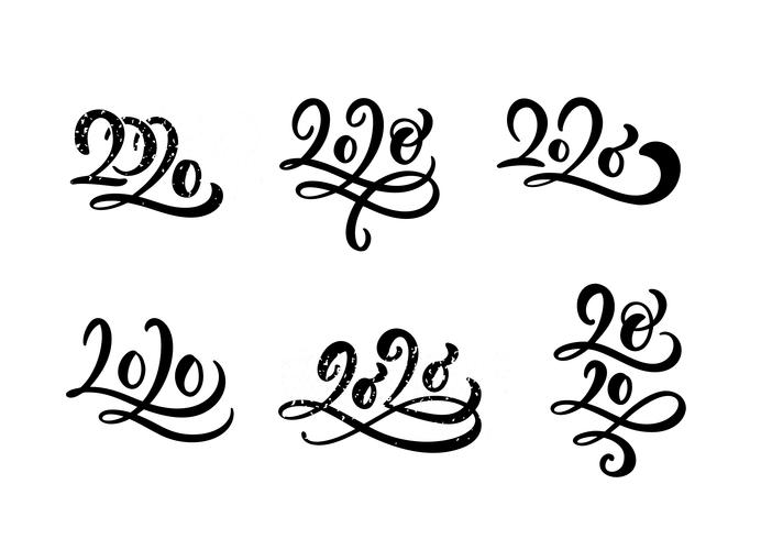 happy new year 2020 set of calligraphy hand drawn numbers for christmas collection is isolated on white background vector illustration download free vectors clipart graphics vector art happy new year 2020 set of calligraphy
