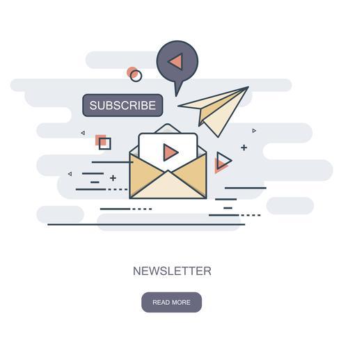 Concept de design plat de publication de nouvelles régulièrement diffusée par e-mail avec des sujets d'intérêt pour ses abonnés Illustration vectorielle plane Concept de newsletter