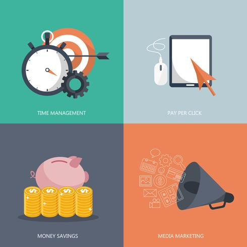 Icônes de plats modernes vector collection dans des couleurs élégantes des objets de conception web. Icônes pour la gestion du temps, le paiement au clic, les économies et le marketing média