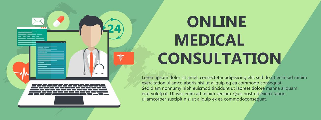 On line medical consultation. Emergency help service. Doctor on call. Flat vector illustration