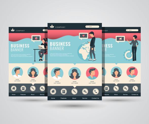 Set of web page design template for social media, online marketing and communication. Modern vector illustration concepts for website and mobile website development.