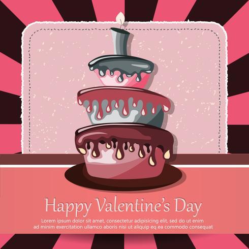 Carta di San Valentino e carta di compleanno con torta