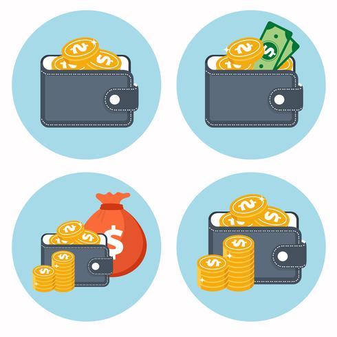 Ícones de carteira e dinheiro. Conceito para as finanças