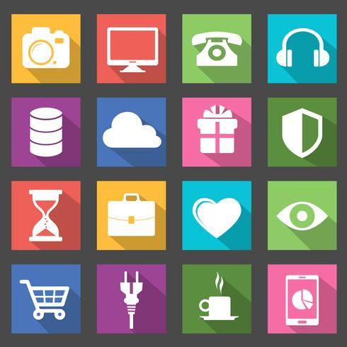 Collezione di icone vettoriali moderno piatto con effetto ombra lunga in colori alla moda di oggetti di design web
