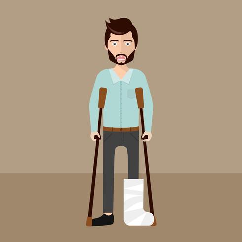 Paziente con una gamba rotta