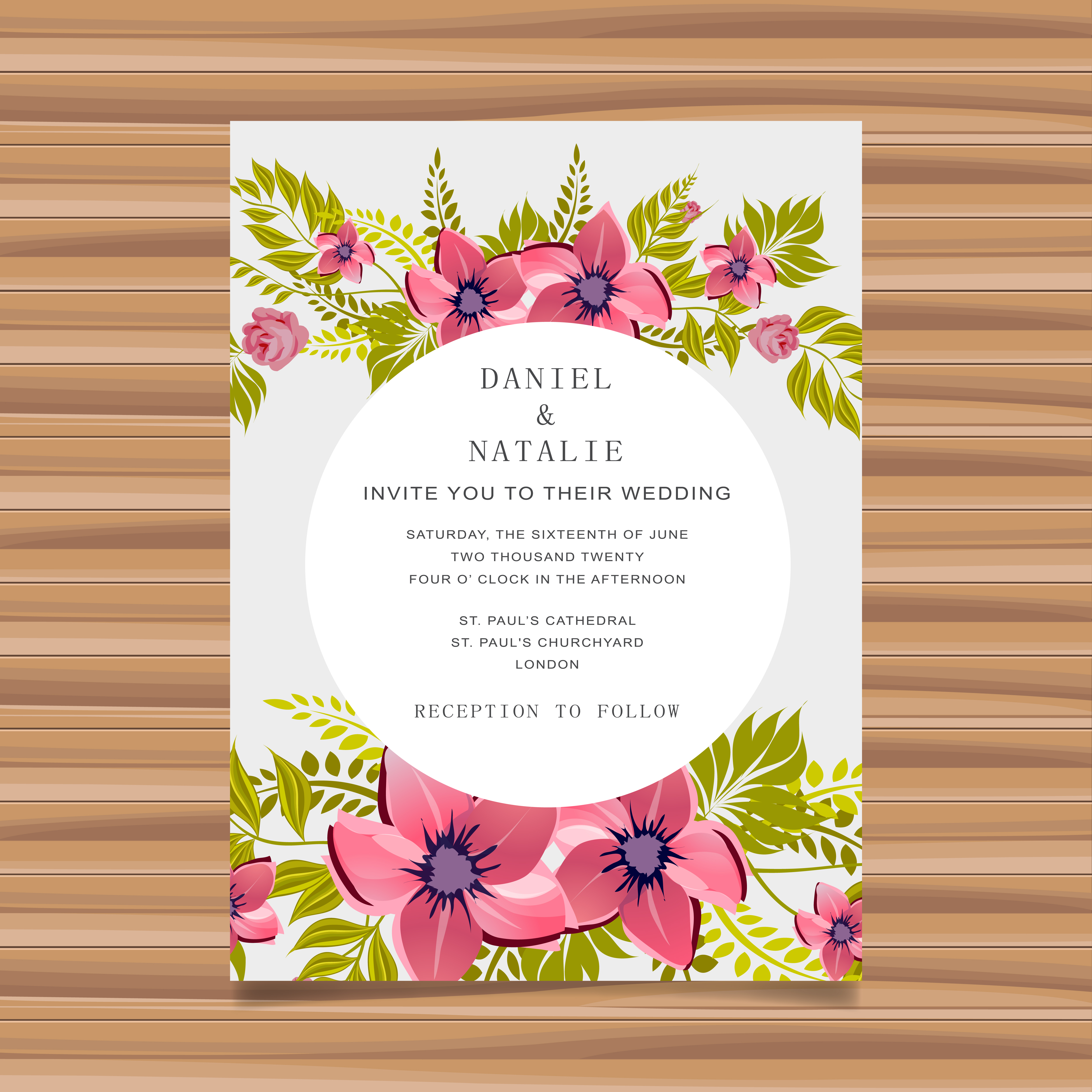 wedding card invitation with flower decoration  download