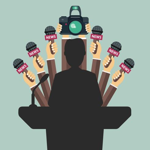 Microfones nas mãos do repórter. Conjunto de microfones e câmera isolado no fundo verde. Meios de comunicação, televisão, entrevista, notícias de última hora, conceito de conferência de imprensa vetor
