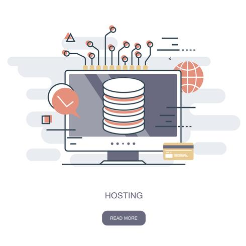 Concetto di hosting Illustrazione vettoriale piatto