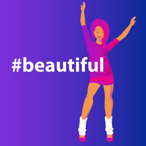 Bella illustrazione di vettore di pendenza di concetto di Hashtag della donna sensuale della testarossa