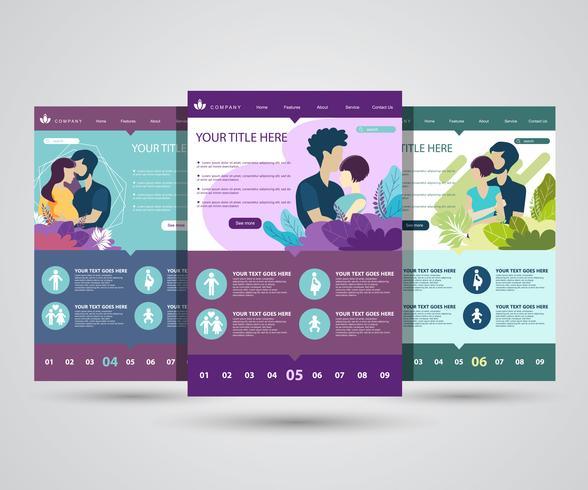 Webbdesignmall för att växa familj, hälsosam och säker miljö för familjen. Moderna vektor illustration koncept för webbplats och mobil.
