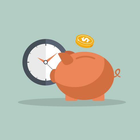 Piggy bank and clock icon