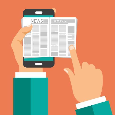 Concetto di notizie online. Leggi il giornale sul tuo smartphone