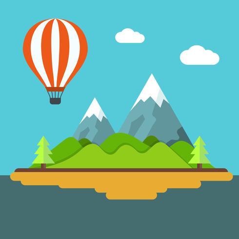 Vakantie en reisbanner met berglandschap. Concept voor de lente en de zomervakantie