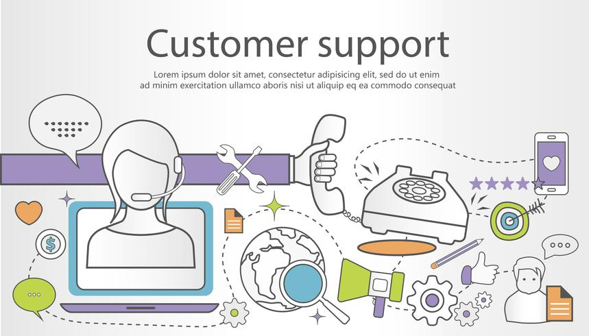 Support service koncept banner. Plattformen skiss illustration med ikoner