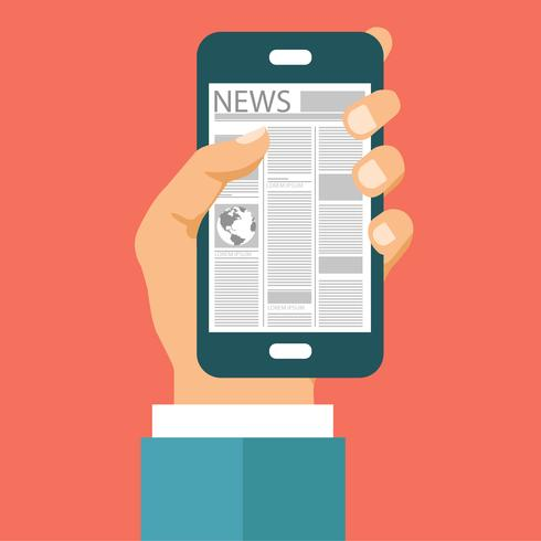 On line news concept. Read newspaper on your smart phone