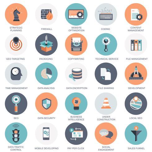 Collection de vecteur d'icônes d'optimisation de moteur de recherche plat coloré, business, technologie et finances. Éléments de conception pour applications Web et mobiles