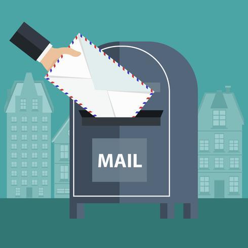 Postbox e busta. Concetto di comunicazione internazionale, corriere espresso, servizi postali e chat.