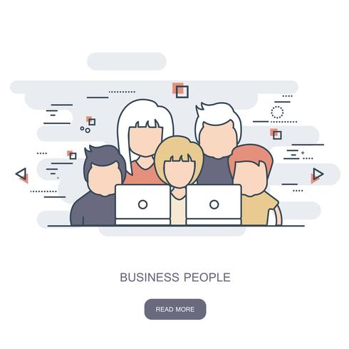 Ensemble de gens d'affaires. Avatars. Illustration de contour plat vector