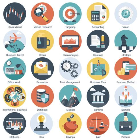 Colorful icon set for business, management, technology and finances