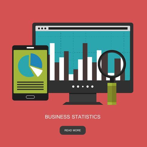 Statistieken en zakelijke verklaring. Financieel administratief concept. Consulting voor bedrijfsprestaties, analyseconcept. Platte vectorillustratie