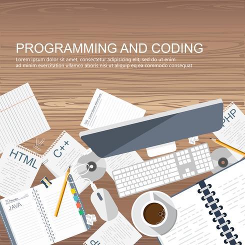 Conceito de programação e codificação. Mesa de escritório com equipamento. Ícone de desenvolvimento de aplicativos para sites. Conceito de código de software e programa. Ilustração vetorial plana