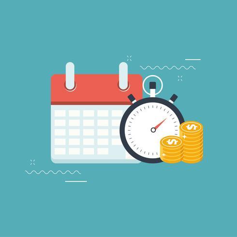 Koncept för planering av affärs- och affärshändelse. Kalender med stoppur och guldmynt
