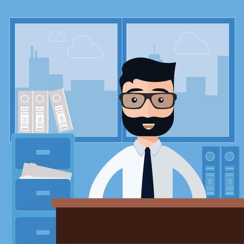 Homem negócios, sentando, em, escritório