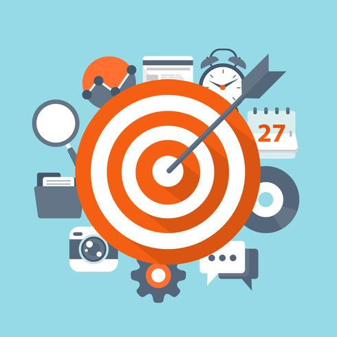 Concetto di vettore di impostazione obiettivo. Illustrazione piatta di targeting e gestione con icone.